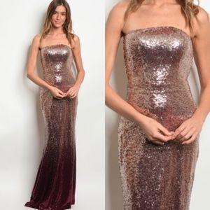 Blush Burgundy Sequin Strapless Formal Dress Gown